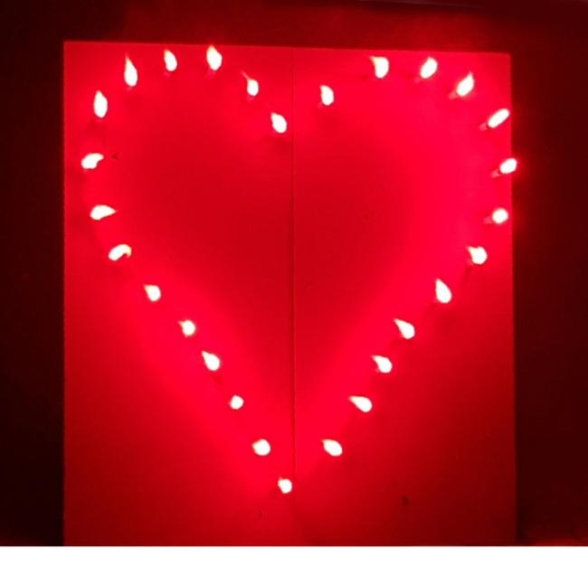 Lichterbild Brennendes rotes Herz zur Hochzeit Lichterbilder Geschenkidee Hochzeitsgeschenk Liebe Love Geburtstag