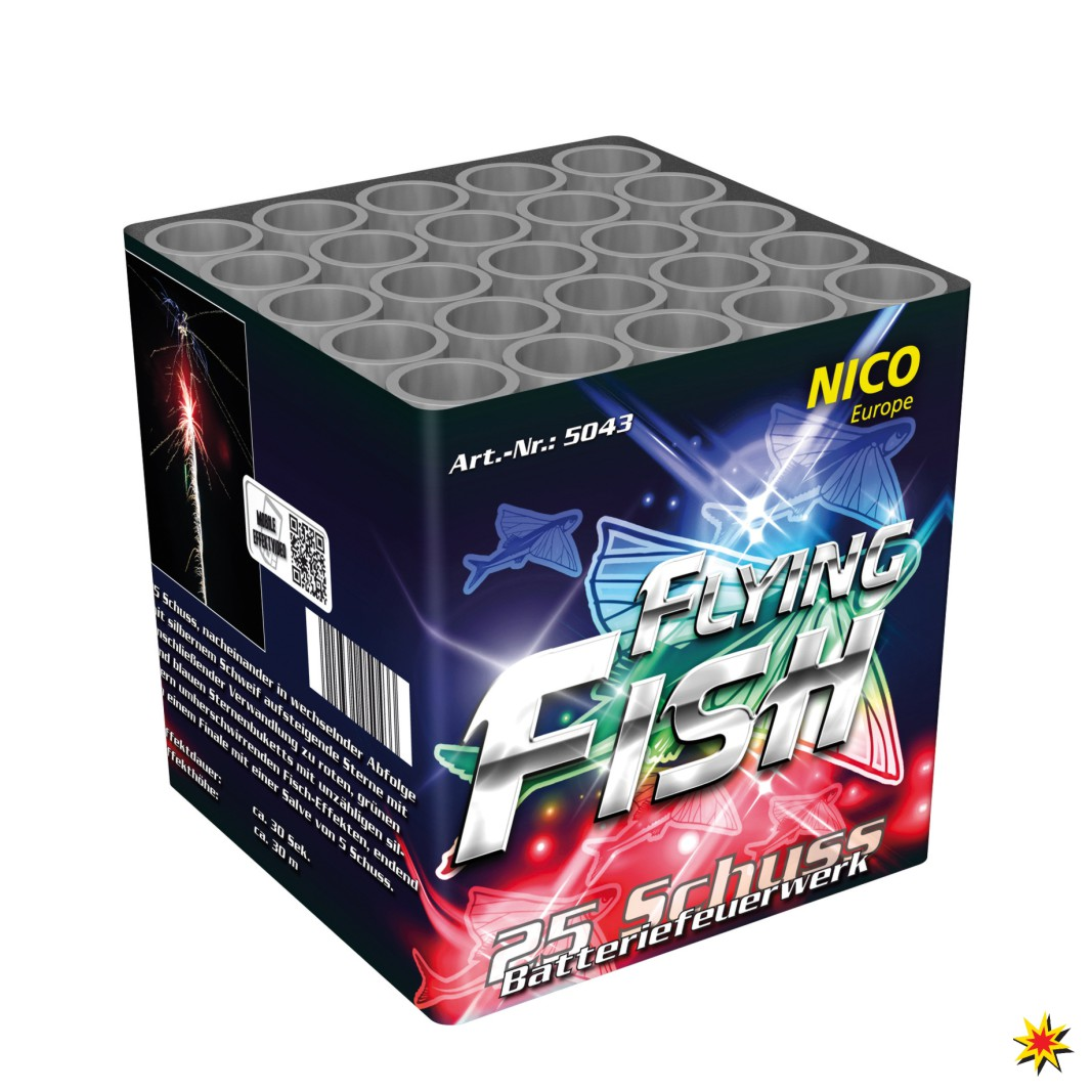 Flying Fish Feuerwerk Batterie 25 Schuss für Silvester