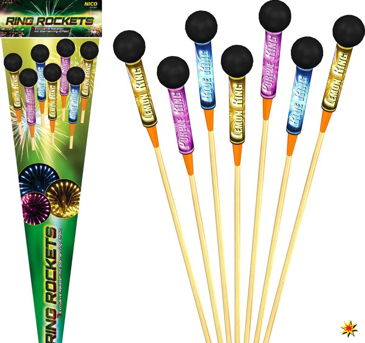 7 bunte Feuerwerksraketen in einer Verpackung