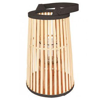 Große Bambus Laterne Holz Zylinder Gartenlaterne Windlicht Deko