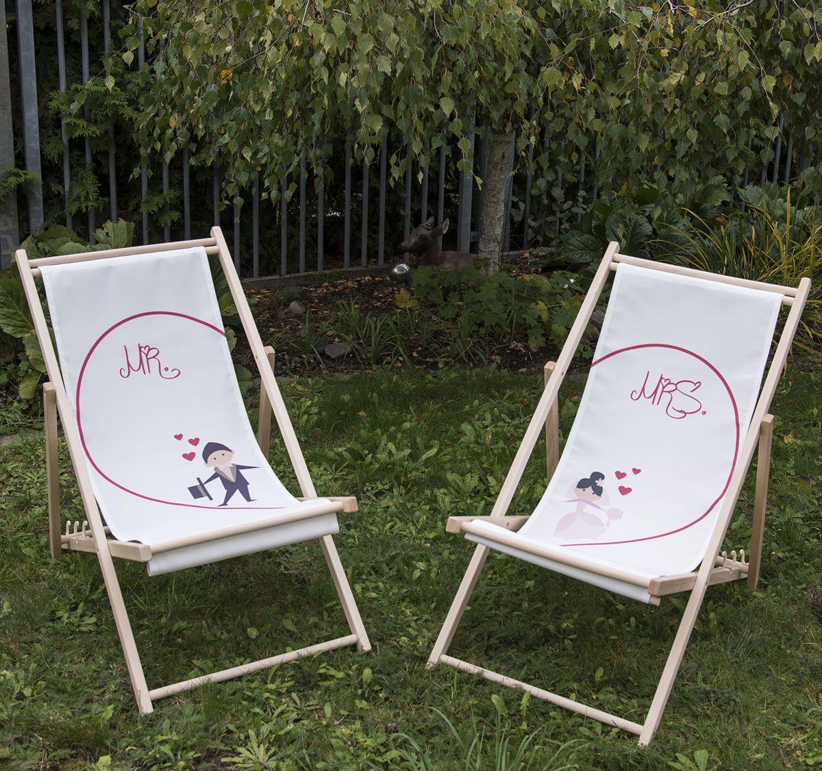 Partner Liegestuhl Brautpaar Mr. & Mrs. individuelles Hochzeitsgeschenk 2 Stück Geschenkidee zur Hochzeit