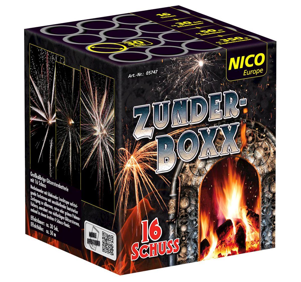 Zunderboxx Feuerwerksbatterie 16 Schuss,  für Silvester, Hochzeiten, Geburtstage uvm.