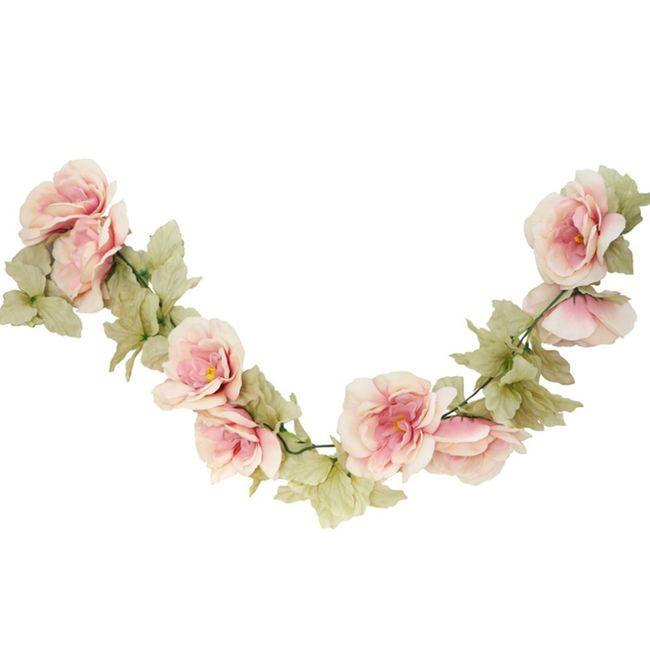 Künstliche Rosengirlande hellrosa 220 cm Hochzeit Geburtstag Tischdeko Wanddeko DIY Dekoration Zuhause Rosenranke