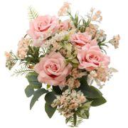 Kunstblumen Rosenstrauß 5 Rosen rosa mit Blattgrün 40,5 cm