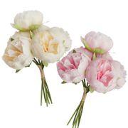 Kunstblumen 6 Pfingstrosen Vintage weiß oder pink Blumenstrauß 27,5 cm