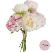 Deko Kunstblumen 12 Pfingstrosen Vintage weiß und pink Blumenstrauß 27,5 cm
