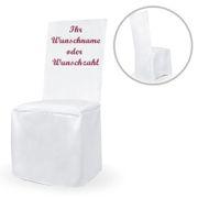 Personalisierte Stuhlhusse weiß universell mit individuellem Druck Geburtstag Hochzeit