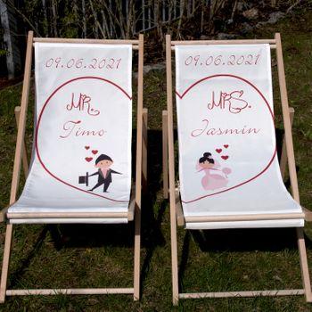 Personalisierte Partner Liegestuhl Mr. & Mrs. mit Wunschname Datum Hochzeitsgeschenk, 2 Stück