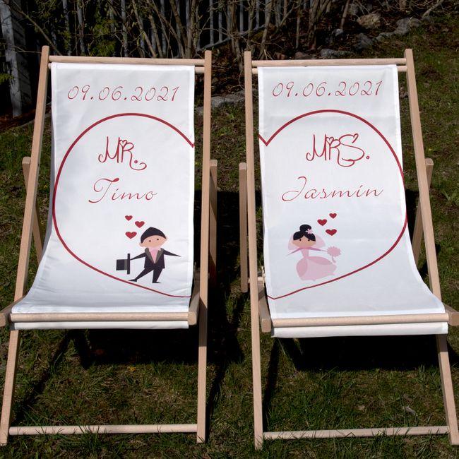 Personalisierte Partner Liegestuhl Mr. & Mrs. mit Wunschname Datum Hochzeitsgeschenk 2 Stück Geschenkidee Brautpaar Wedding Gift Hochzeit Trauung