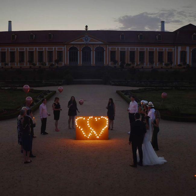 Lichterbild Brennendes Doppelherz Feuerwerk Feuerbild Geschenkidee Geburtstag Goldene Hochzeit Jubiläum Verlobung