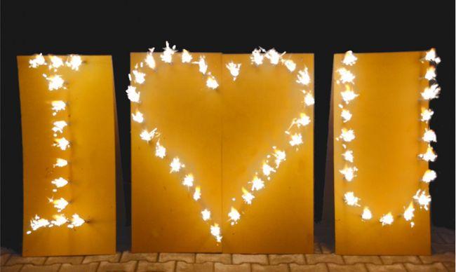 Lichterbild Brennendes Herz I love u Lichterbilder I love you Feuerbild Ich liebe Dich Geschenkidee Hochzeit Verlobung Heiratsantrag Liebesbeweis